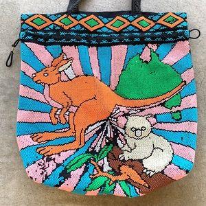 VTG Australian 60s JEWELRY TOTE animals 70s CUTE